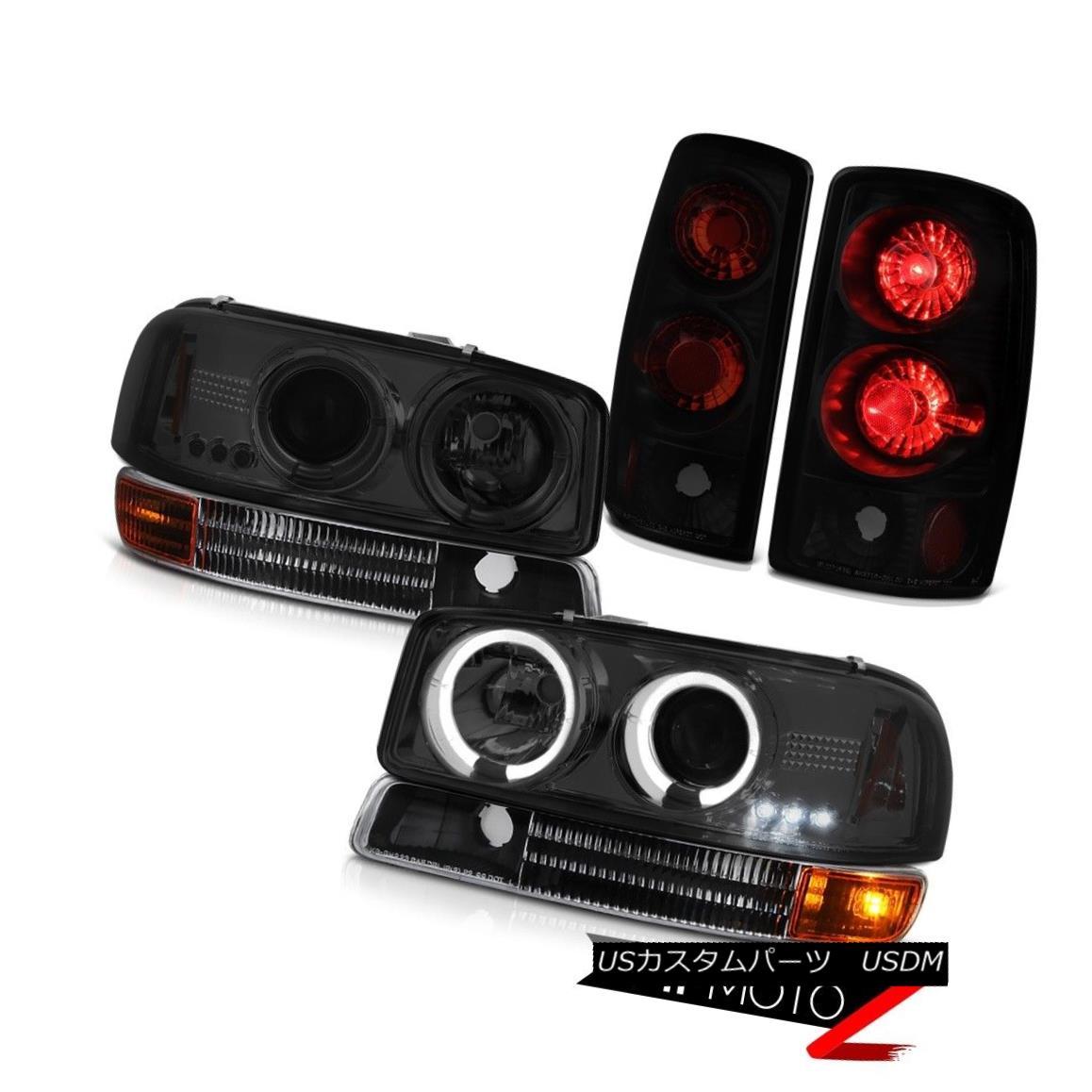 テールライト Parking Rear Brake Signal Tail Lights 2000-2006 Yukon Tinted LED Halo Headlights パーキングリアブレーキ信号テールライト2000-2006ユーコンティンテッドLEDハローヘッドライト