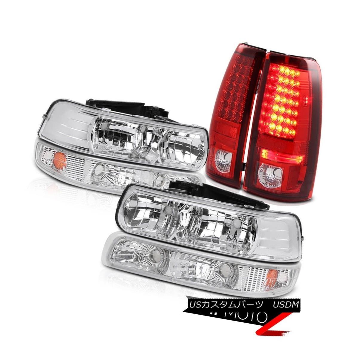 テールライト 99-02 Silverado Truck L+R Crystal Headlight+AMBER Bumper+RED/CLEAR LED Tail Lamp 99-02 SilveradoトラックL + Rクリスタルヘッドライト+ AMBE Rバンパー+ RED / CLE AR LEDテールランプ