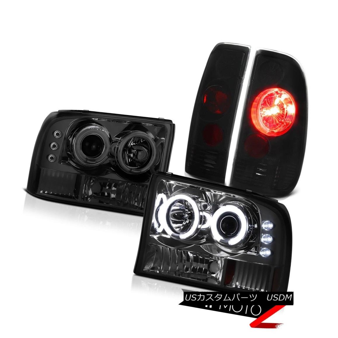 テールライト 99-04 FORD F250 F350 CCFL Angel Eye Smoke Headlights Black Rear Taillights Lamps 99-04フォードF250 F350 CCFLエンジェルアイスモークヘッドライトブラックリアタイルランプ