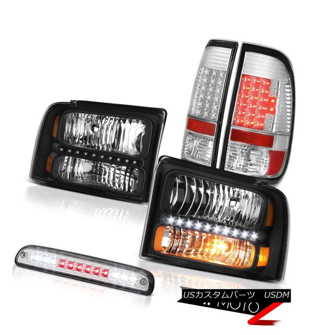 テールライト 05 06 07 F250 5.4L Beast Black Headlights Clear LED Tail Lights 3rd Brake Chrome 05 06 07 F250 5.4LビーストブラックヘッドライトクリアLEDテールライト3rdブレーキクローム