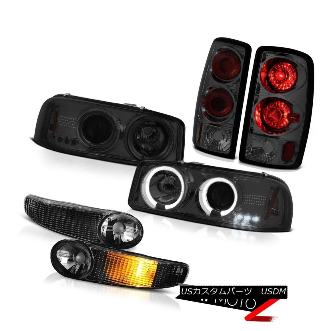 テールライト Halo Headlamp Matte Black Signal Bumper Rear Brake Tail Light 00-06 Yukon Denali ハローヘッドランプマットブラックシグナルバンパーリアブレーキテールライト00-06ユーコンデナリ