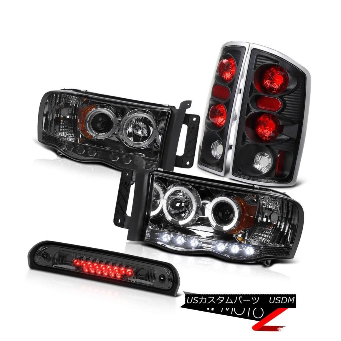 テールライト Smoke Headlights Rear Black Taillamps Roof Stop LED Tint 2002-2005 Ram Magnum V8 スモークヘッドライトリアブラックタイラーランプルーフストップLEDティント2002-2005ラムマグナムV8