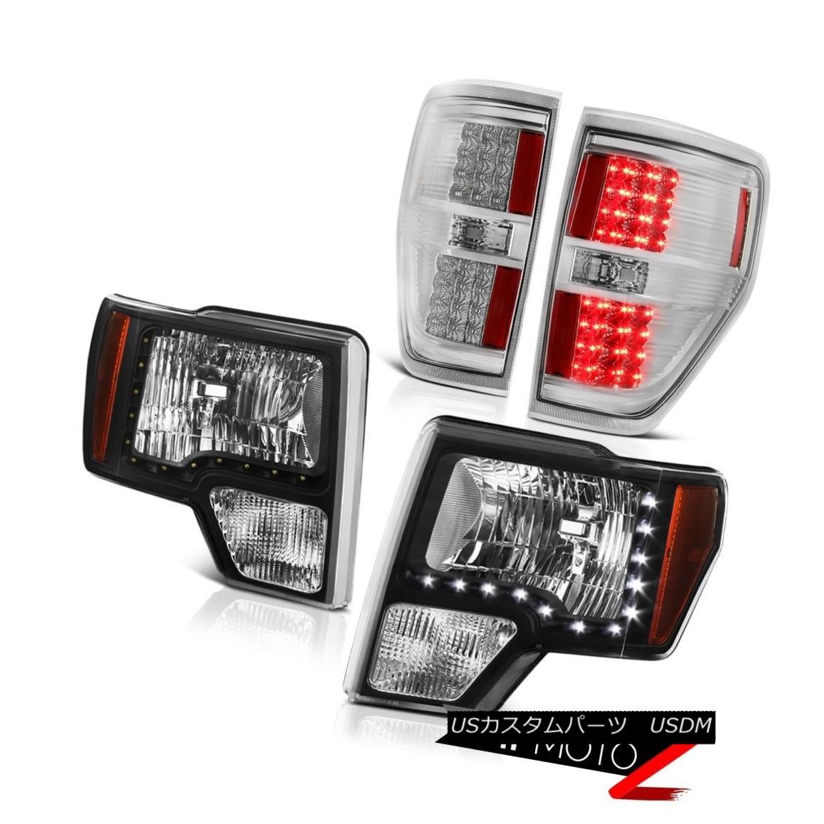 テールライト 2009-2014 Ford F150 Raptor LED SMD DRL Strip Head Lights LED Chrome Tail Lights 2009-2014フォードF150ラプターLED SMD DRLストリップヘッドライトLEDクロームテールライト