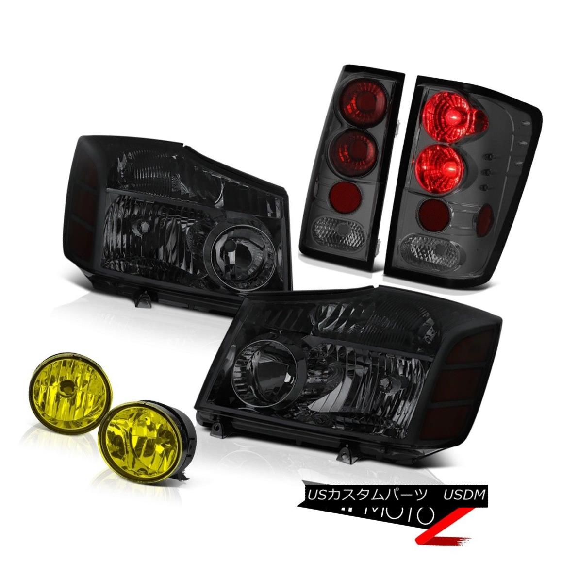 テールライト For 04-15 Titan Dark Smoke Headlight Brake Tail Light Lamp Yellow Bumper Fog 04-15タイタンダークスモークヘッドライトブレーキテールライトランプイエローバンパーフォグ