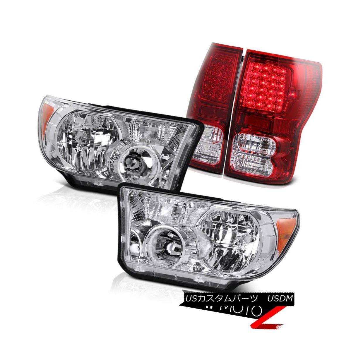 テールライト Crystal Clear Headlight Lamp+Smoke L+R Led Tail Light Lamp 2007-13 Toyota Tundra クリスタルクリアヘッドランプ+スモークL + Rテールライトランプ2007-13トヨタトンドラ