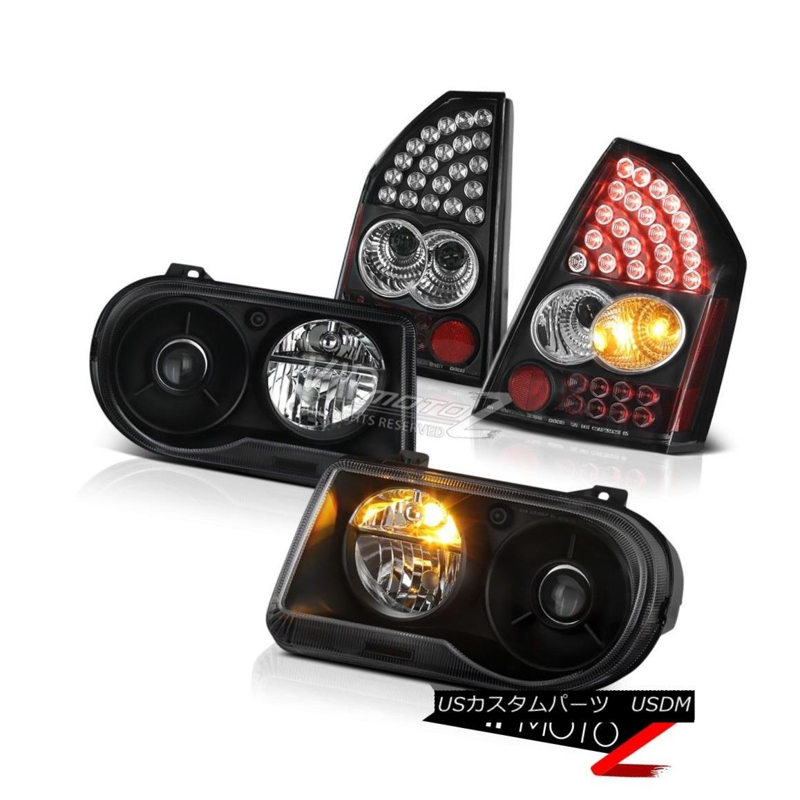 テールライト 2005-2007 Chrysler 300C SRT8 Black Left + Right Headlights LED Bright Taillights 2005-2007クライスラー300C SRT8ブラック左+ライトヘッドライトLEDブライトテイルライト