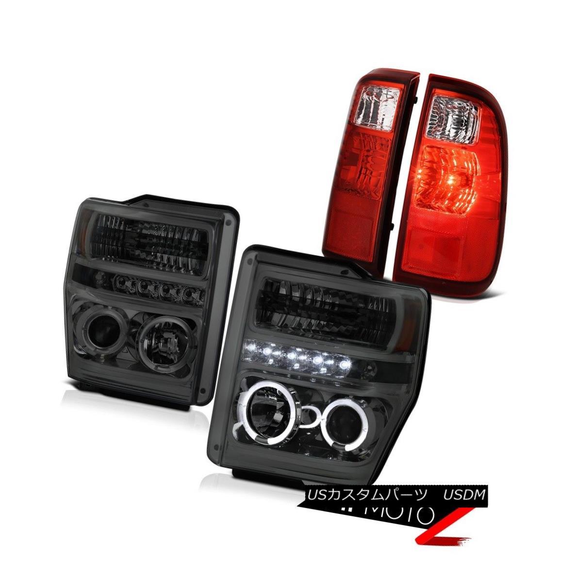 テールライト 2008-2009-2010 Ford F250 F350 F450 SuperDuty Smoke Halo Headlight RED Tail Lamps 2008-2009-2010 Ford F250 F350 F450 SuperDutyスモークハローヘッドライトREDテールランプ