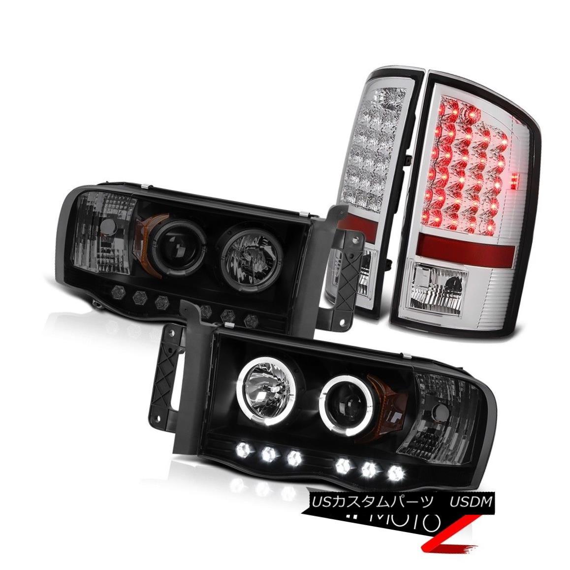 テールライト 2002-2005 Ram V6 V8 Laramie Black Smoke Halo Headlight SMD Rear Tail Lights 2002-2005 Ram V6 V8ララミーブラックスモークヘイローヘッドライトSMDリアテールライト