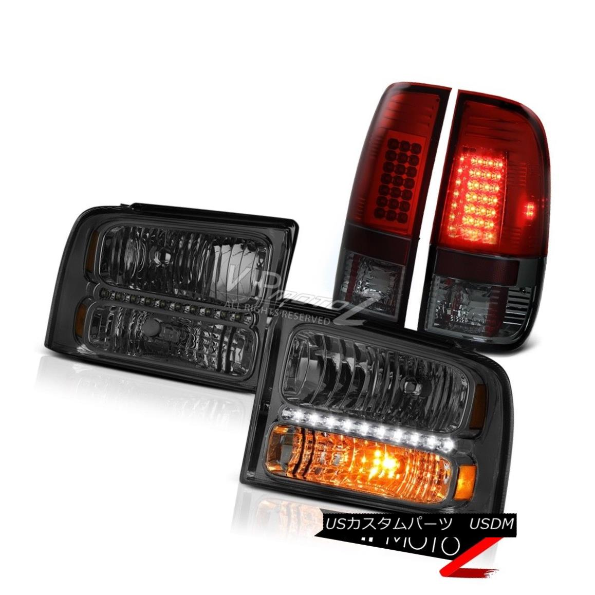 テールライト Left Right Smoke Headlights Cherry Red Tail Lights 2005 2006 2007 Ford F250 7.3L 左右スモークヘッドライトチェリーレッドテールライト2005 2006 2007 Ford F250 7.3L