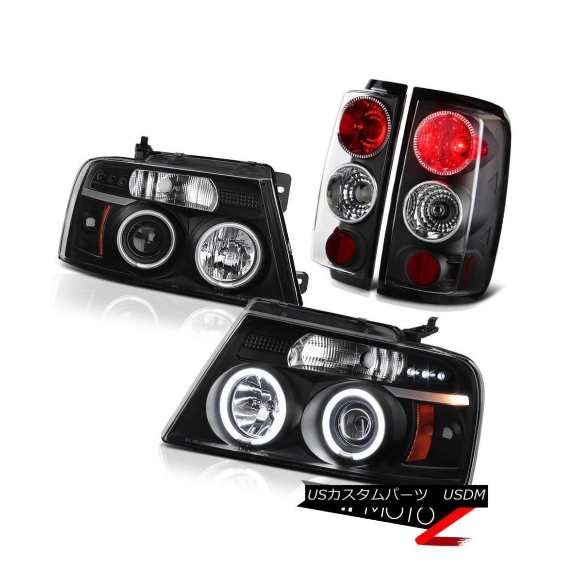 テールライト 2004-2008 Ford F150 Black CCFL Angel Eye LED Headlight Rear Tail Lights Lamp RED 2004-2008フォードF150ブラックCCFLエンジェルアイLEDヘッドライトリアテールライトランプレッド