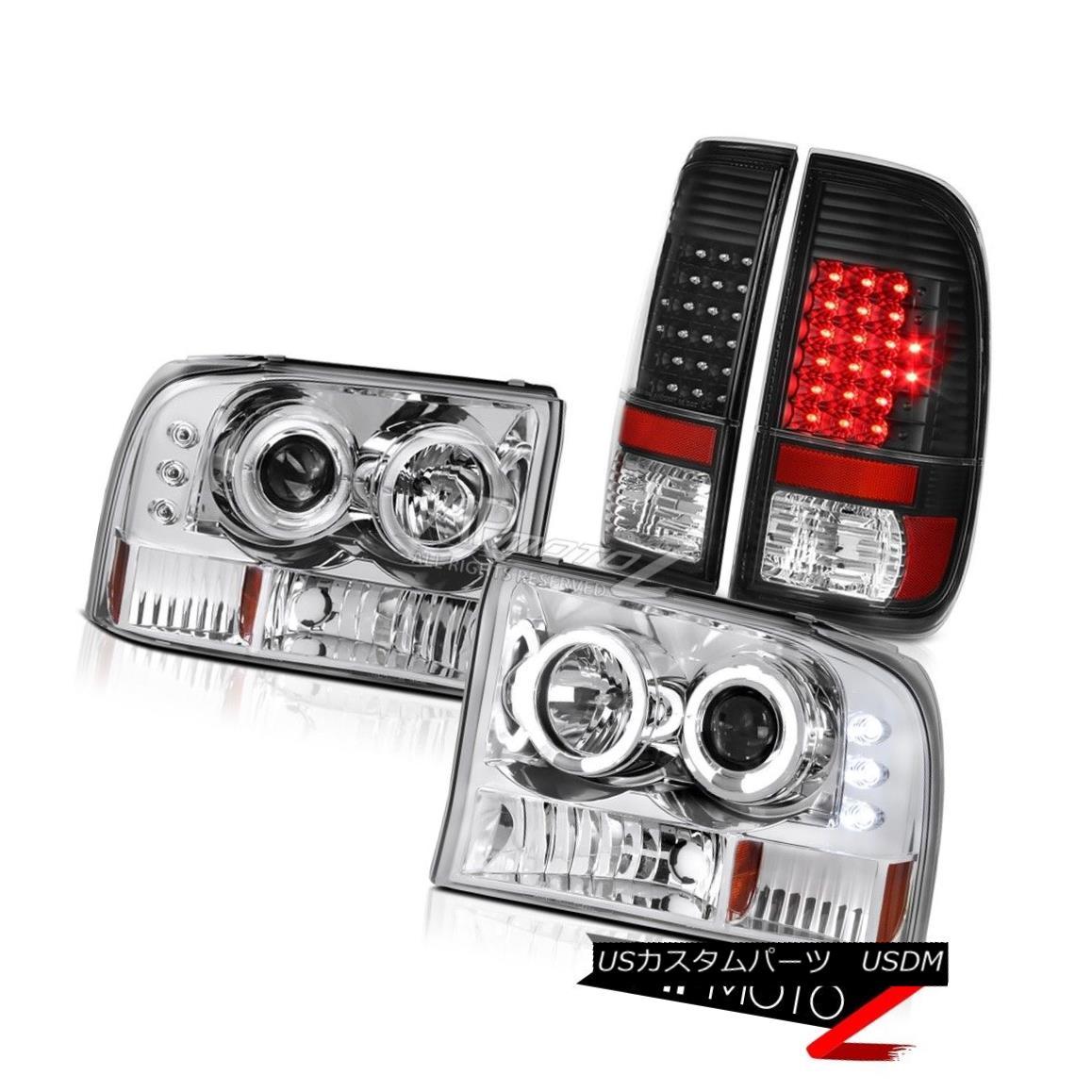 テールライト Chrome Halo LED Headlights Black Taillamps 99 00 01 02 03 04 Ford F250 F350 XLT クローム・ハローLEDヘッドライトブラック・タイルランプ99 00 01 02 03 04フォードF250 F350 XLT