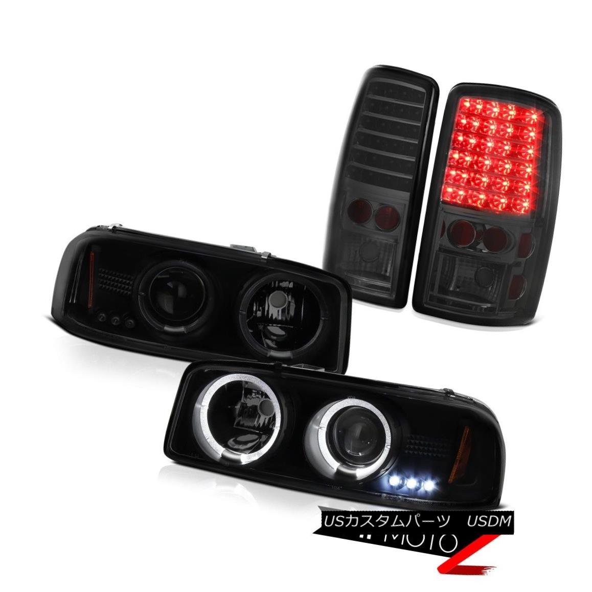 テールライト Sinister Black Headlights Halo Ring Dark LED Brake Tail Lights 00-06 GMC Yukon シニスターブラックヘッドライトハローリングダークLEDブレーキテールライト00-06 GMCユーコン