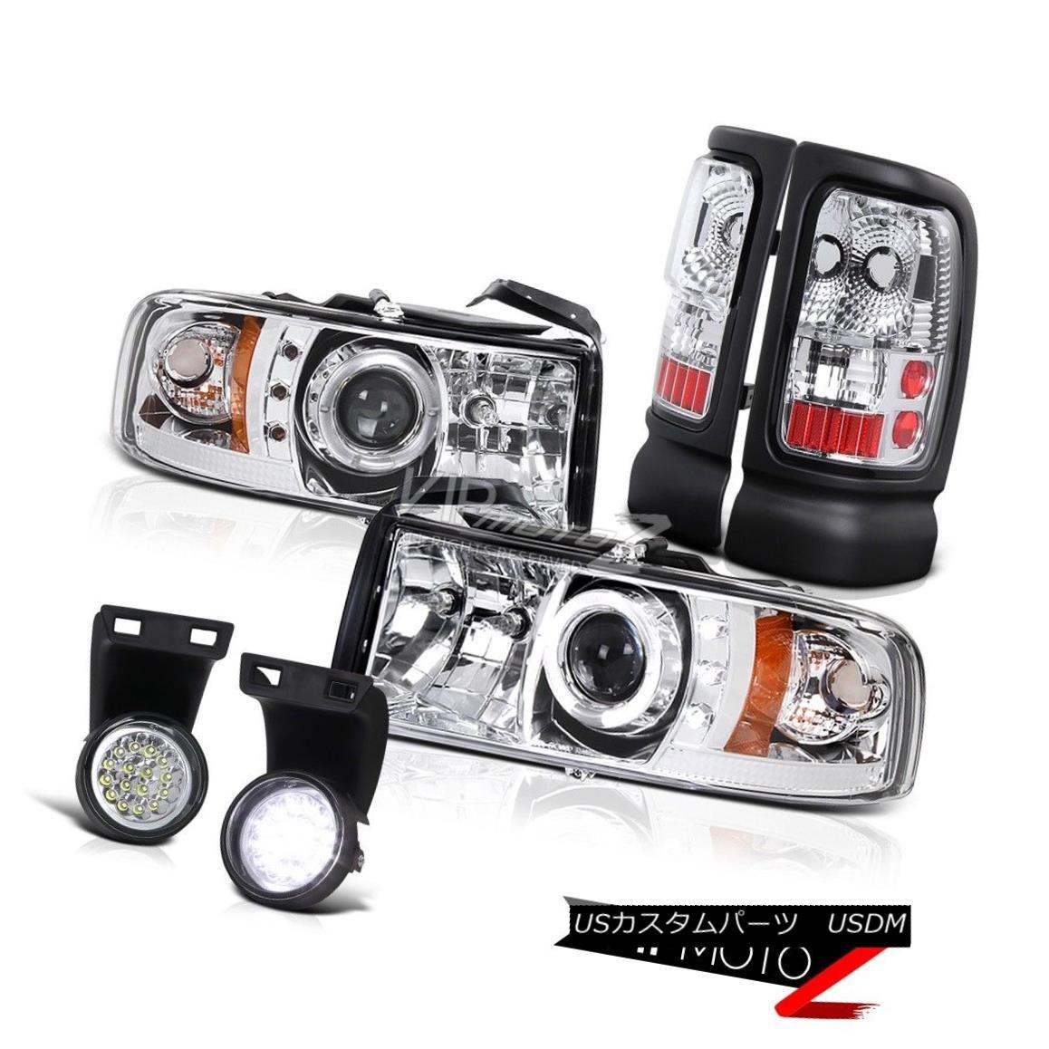 テールライト Ram 5.9L Magnum V6 V8 Sterling Chrome Tail Brake Lamps LED Fog Halo Head Lights ラム5.9LマグナムV6 V8スターリングクロムテールブレーキランプLEDフォグハローヘッドライト