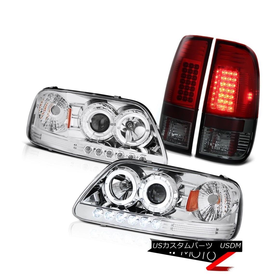 テールライト F150 XL 97-03 Headlight Chrome Halo DRL LED Bulbs Tail Light Lamp Set Smokey Red F150 XL 97-03ヘッドライトクロームハローDRL LED電球テールライトランプセットスモーキーレッド