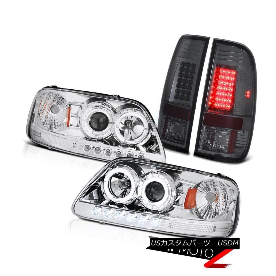 テールライト F150 Hertiage 97-03 Chrome Halo LED Headlights Smoke Pair Signal Rear Tail Light F150 Heritage 97-03 Chrome Halo LEDヘッドライトスモークペア信号リアテールライト
