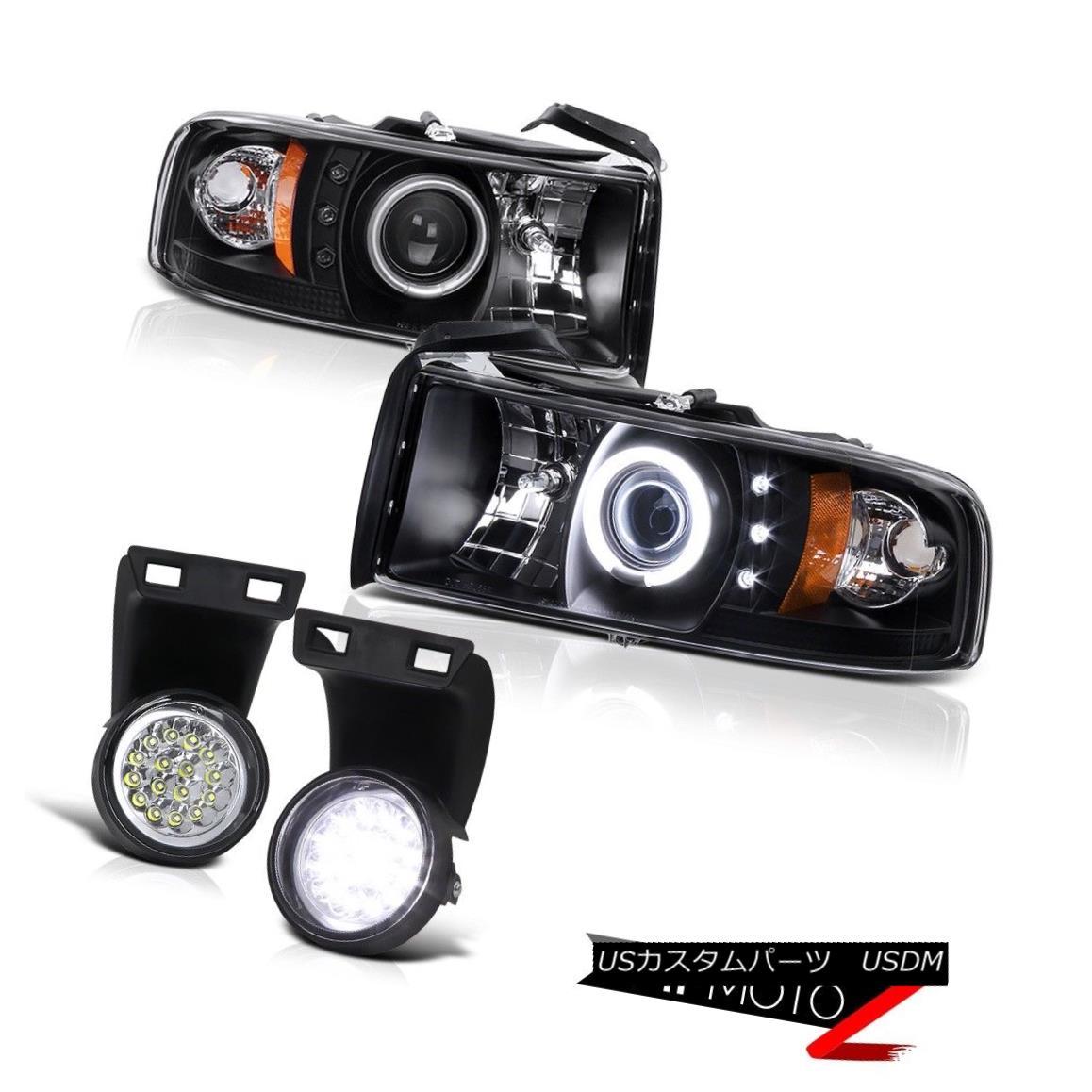 テールライト CCFL Angel Eye HaLo Projector Black Headlight+Clear Led Fog Lamp 94-01 Dodge RAM CCFL Angel Eye HaLoプロジェクターブラックヘッドライト+クリーア r Ledフォグランプ94-01 Dodge RAM