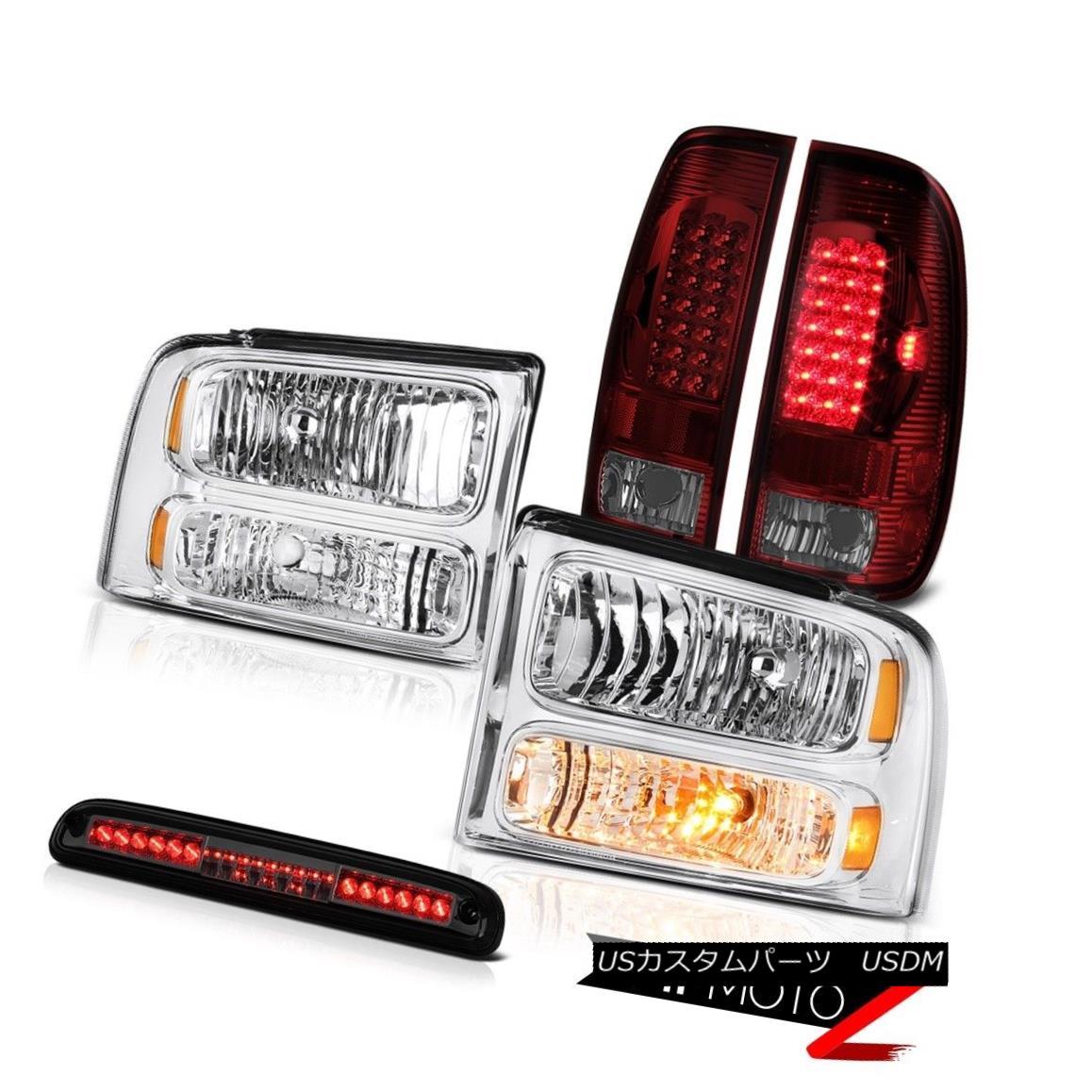 テールライト Crystal Headlights SMD Rear Lamps Tinted Third Brake LED 2005-2007 F350 5.4L クリスタルヘッドライトSMDリアランプは第3ブレーキLEDを点灯2005-2007 F350 5.4L
