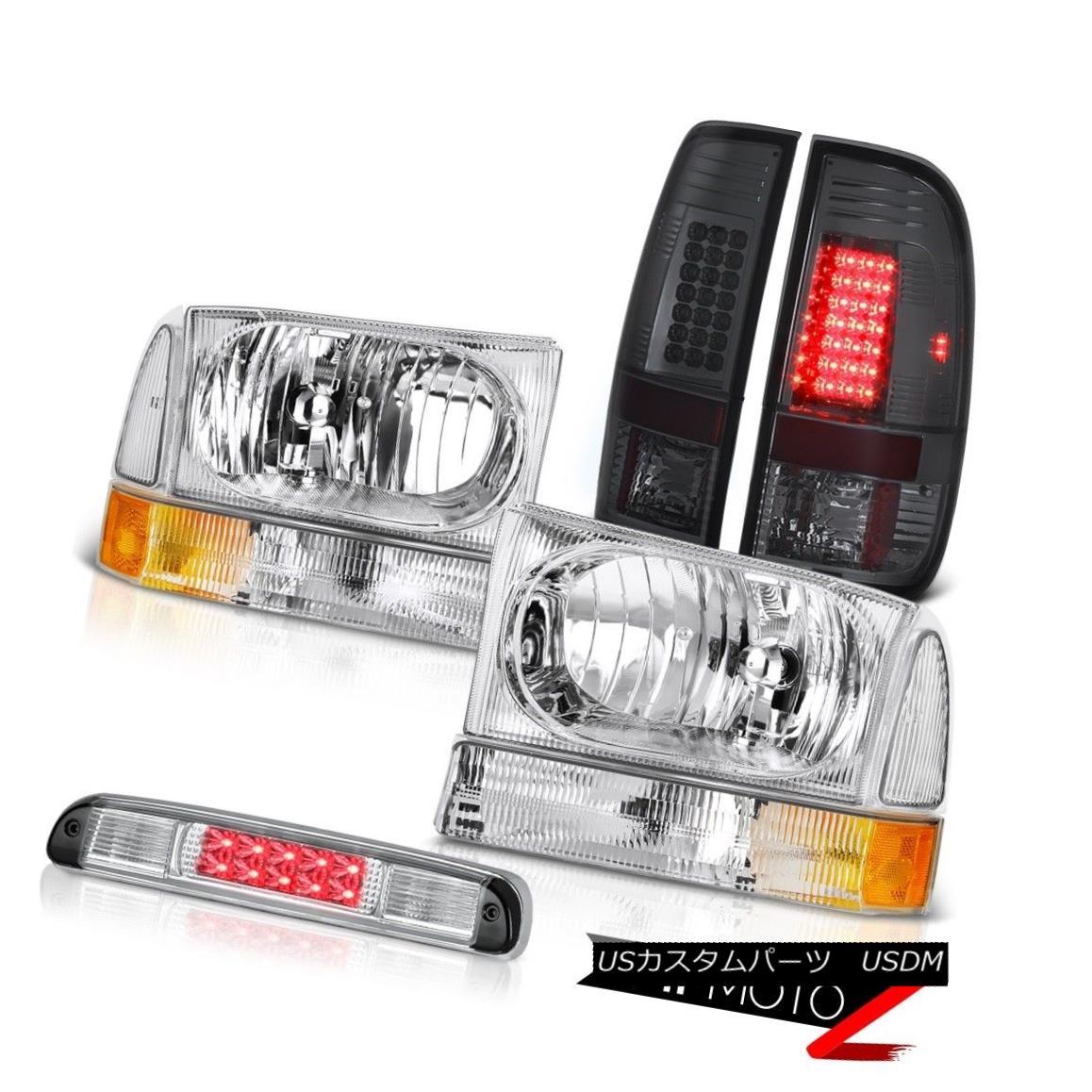 テールライト Crystal Headlamps Smoke Brake Tail Lights Euro Third LED 99-04 F250 Turbo Diesel クリスタルヘッドランプスモークブレーキテールライトユーロサードLED 99-04 F250ターボディーゼル