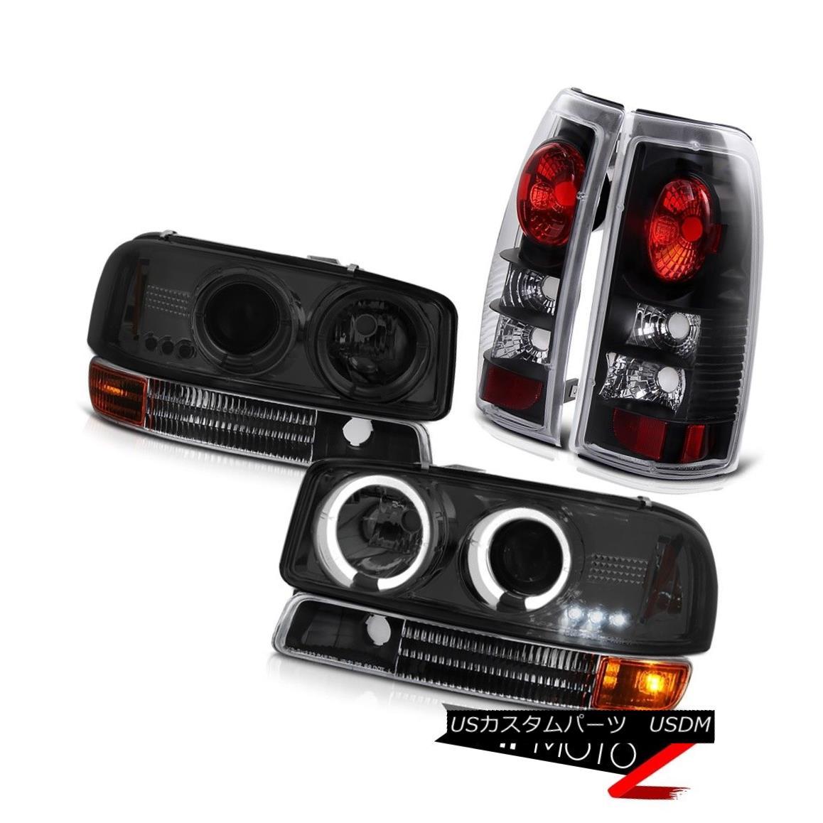 テールライト 1999-2003 Sierra 1500 Projector Headlights Smoke Black Bumper Tail Brake Lights 1999-2003 Sierra 1500プロジェクターヘッドライトスモークブラックバンパーテールブレーキライト