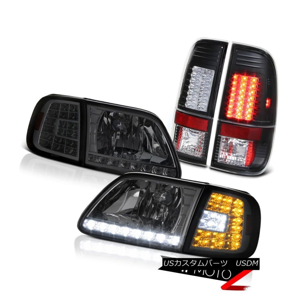 テールライト 97 98 99 00 01 02 03 F150 LED Smoke Corner+Headlamps Matte Black LED Tail Lights 97 98 99 00 01 02 03 F150 LEDスモークコーナー+ヘッドラム psマットブラックLEDテールライト