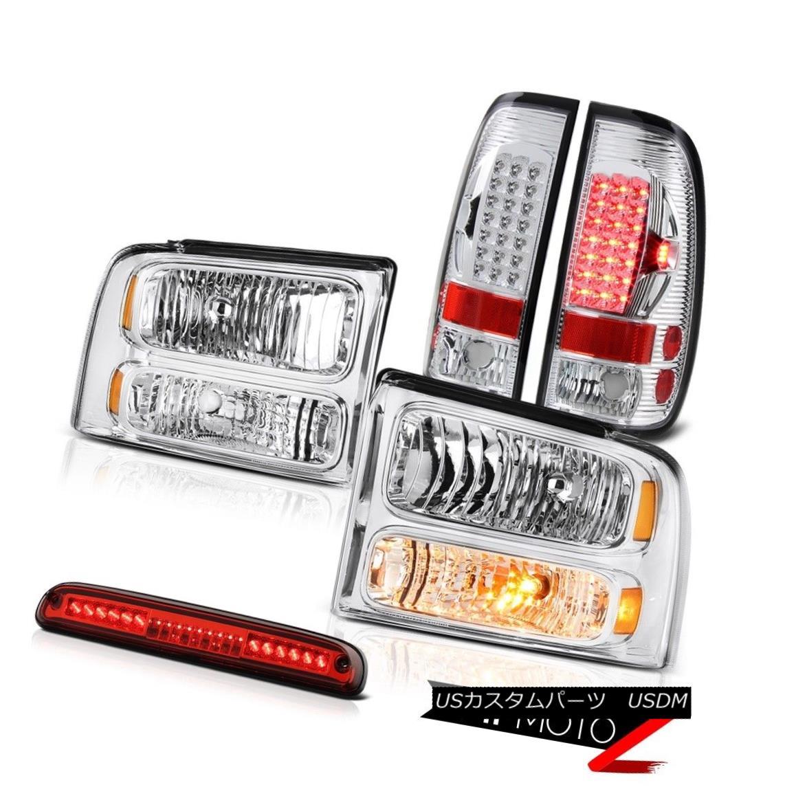テールライト 05 06 07 F250 F350 Crystal Headlamps Brake Lamps Taillights High Stop LED Red 05 06 07 F250 F350クリスタルヘッドランプブレーキランプテールライトハイストップLEDレッド