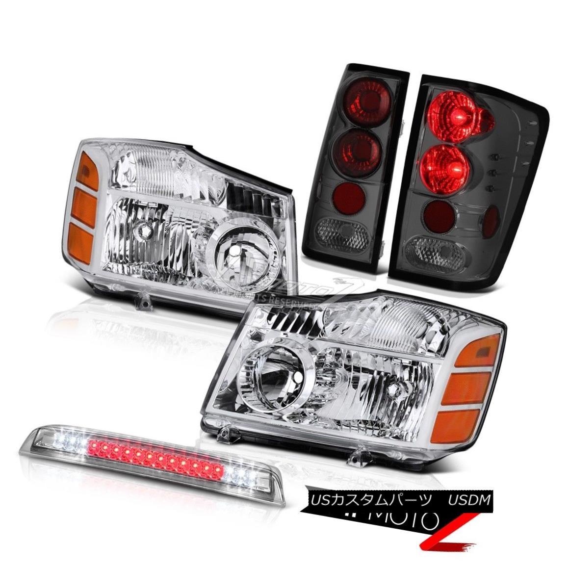 テールライト Chrome Headlights Tinted Tail Light Roof Third Brake LED For 2004-2015 Titan SE クロームヘッドライトタイタンテールライトルーフサードブレーキLED 2004-2015タイタンSE