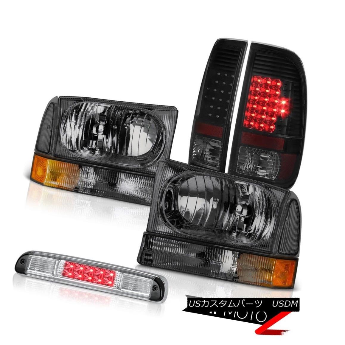 テールライト Crystal Smoke Headlights Sinister Black LED Taillights High 99-04 Ford SuperDuty クリスタルスモークヘッドライトハイライト99-04 Ford SuperDuty