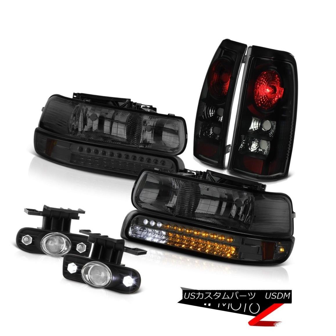 テールライト 1999-2002 Chevy Silverado LT LED Smoke Bumper+Head Lamps Sinister Black Foglight 1999-2002 Chevy Silverado LT LEDスモークバンパー+ヘッドランプSinister Black Foglight