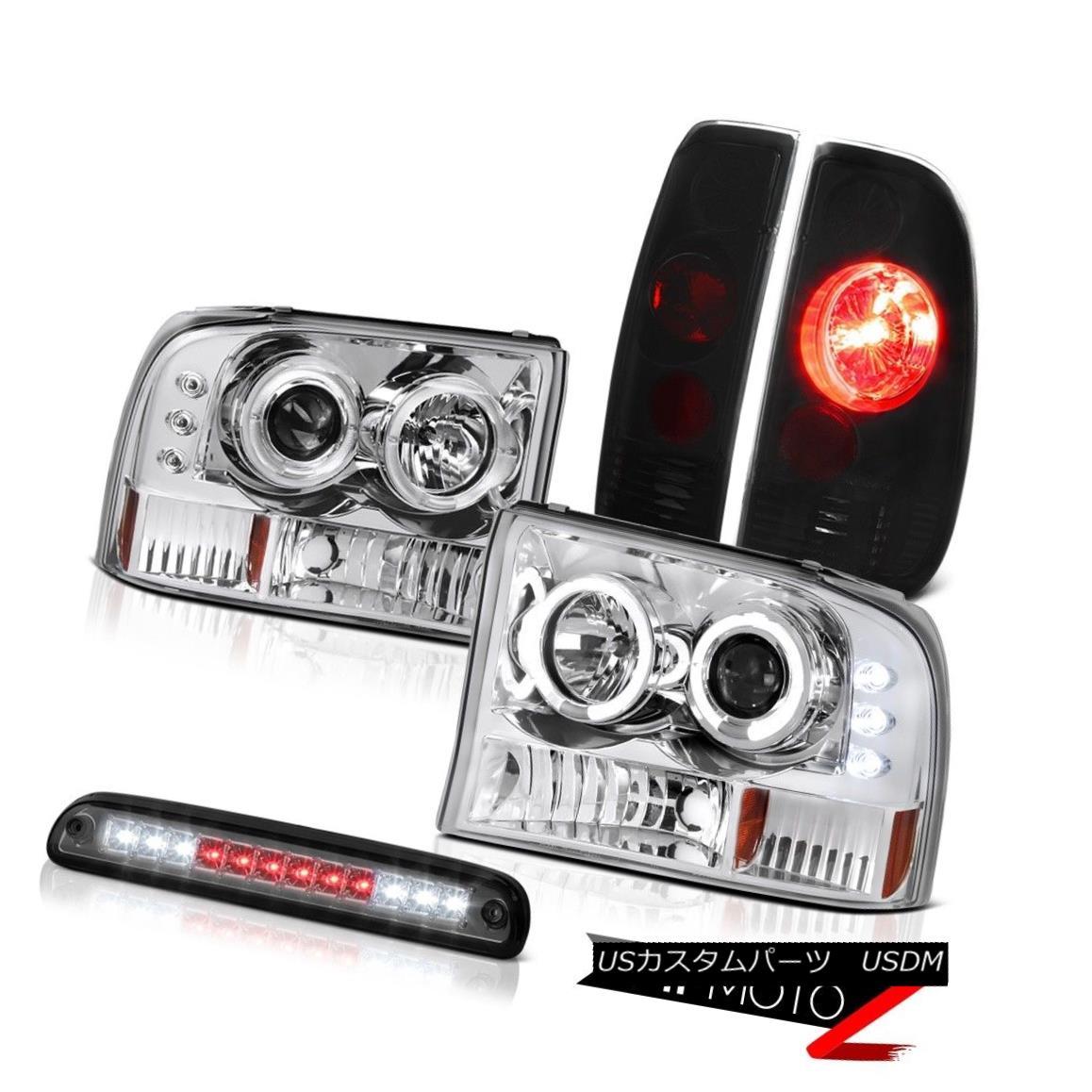 テールライト Halo Rim Headlight Smoke 3rd Brake LED Sinister Black TailLight 1999-2004 F350 Halo Rimヘッドライトスモーク3ブレーキLED Sinister Black TailLight 1999-2004 F350