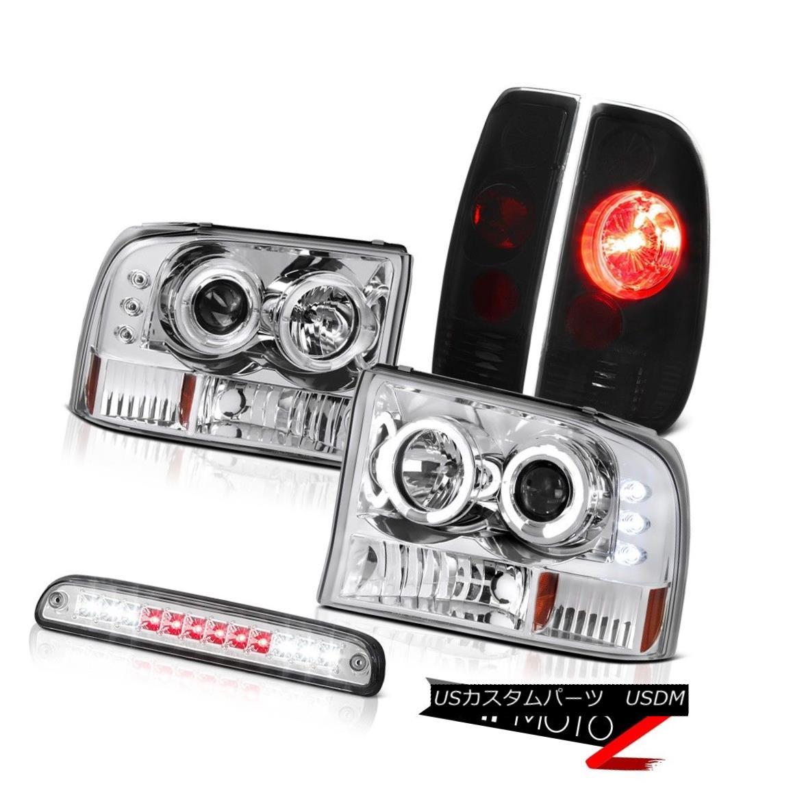 テールライト Halo Rim Headlights Smoke Euro Third Brake LED Sinister Black 1999-2004 F350 Halo Rim Headlights SmokeユーロサードブレーキLED Sinister Black 1999-2004 F350