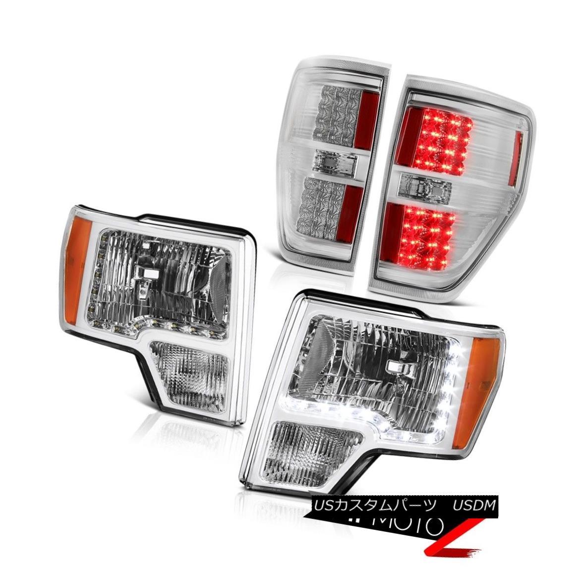 テールライト 2009-2014 F150 Harley Davidson Diamond Cut Headlights LED Bulb Brake Tail Lights 2009-2014 F150ハーレーダビッドソンダイヤモンドカットヘッドライトLED電球ブレーキテールライト