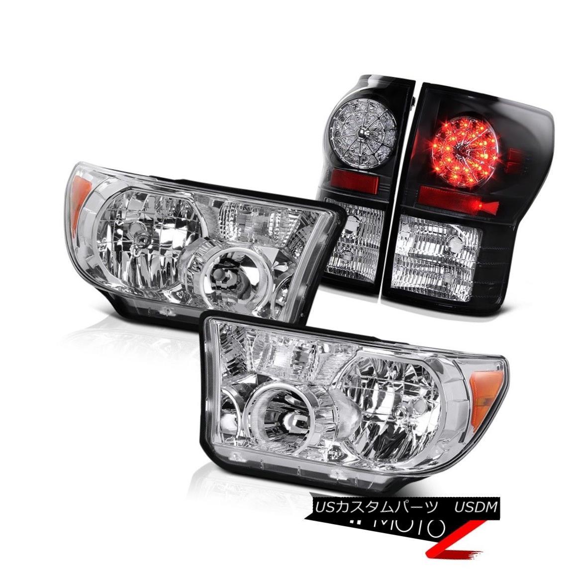 テールライト Crystal Clear L+R Headlight Lamp+Black Led Tail Light Lamp Toyota Tundra 07-2013 クリスタルクリアL + Rヘッドライトランプ+ブラックLedテールライトランプトヨタTundra 07-2013