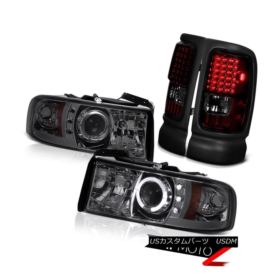 テールライト 98 99 00 01 Dodge Ram Smoke Tint Projector Head Lamps Red Smoke LED Tail Lights 98 99 00 01ダッジラムスモークティントプロジェクターヘッドランプレッドスモークLEDテールライト