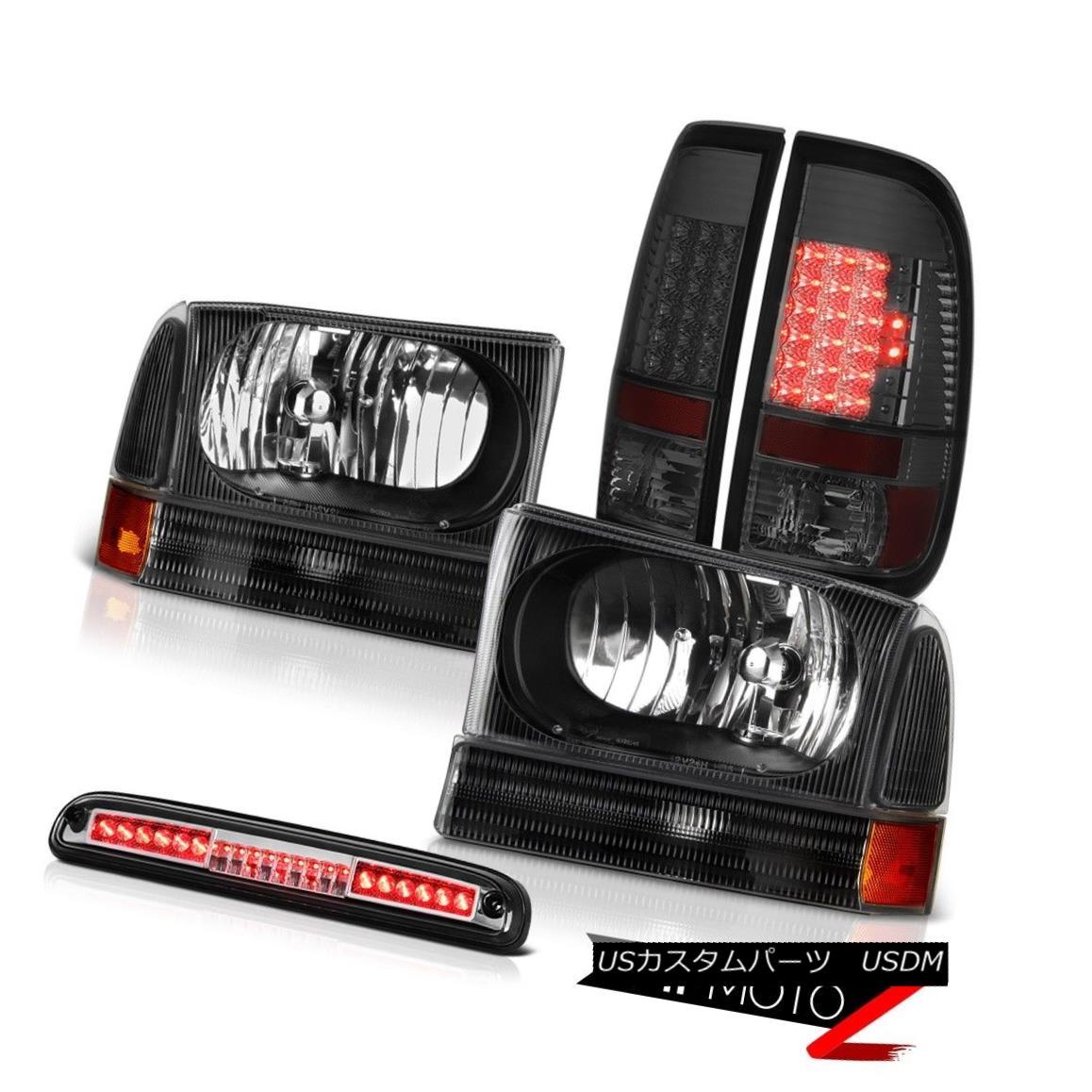 テールライト 99-04 F250 Harley Davidson Black Headlamps LED Bulbs Tail Lights Roof Stop Clear 99-04 F250ハーレーダビッドソンブラックヘッドランプLED電球テールライトルーフストップクリア