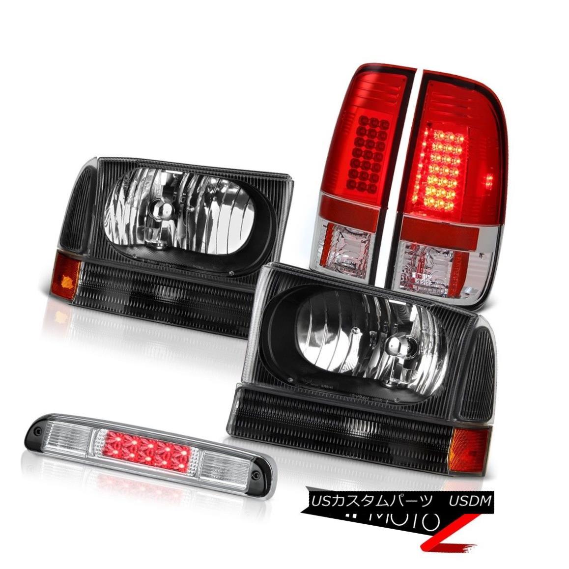 テールライト Satin Black Headlamps Brake Tail Lights LED Third Cargo 1999-2004 Ford F250 SD サテンブラックヘッドランプブレーキテールライトLED第3貨物1999-2004 Ford F250 SD