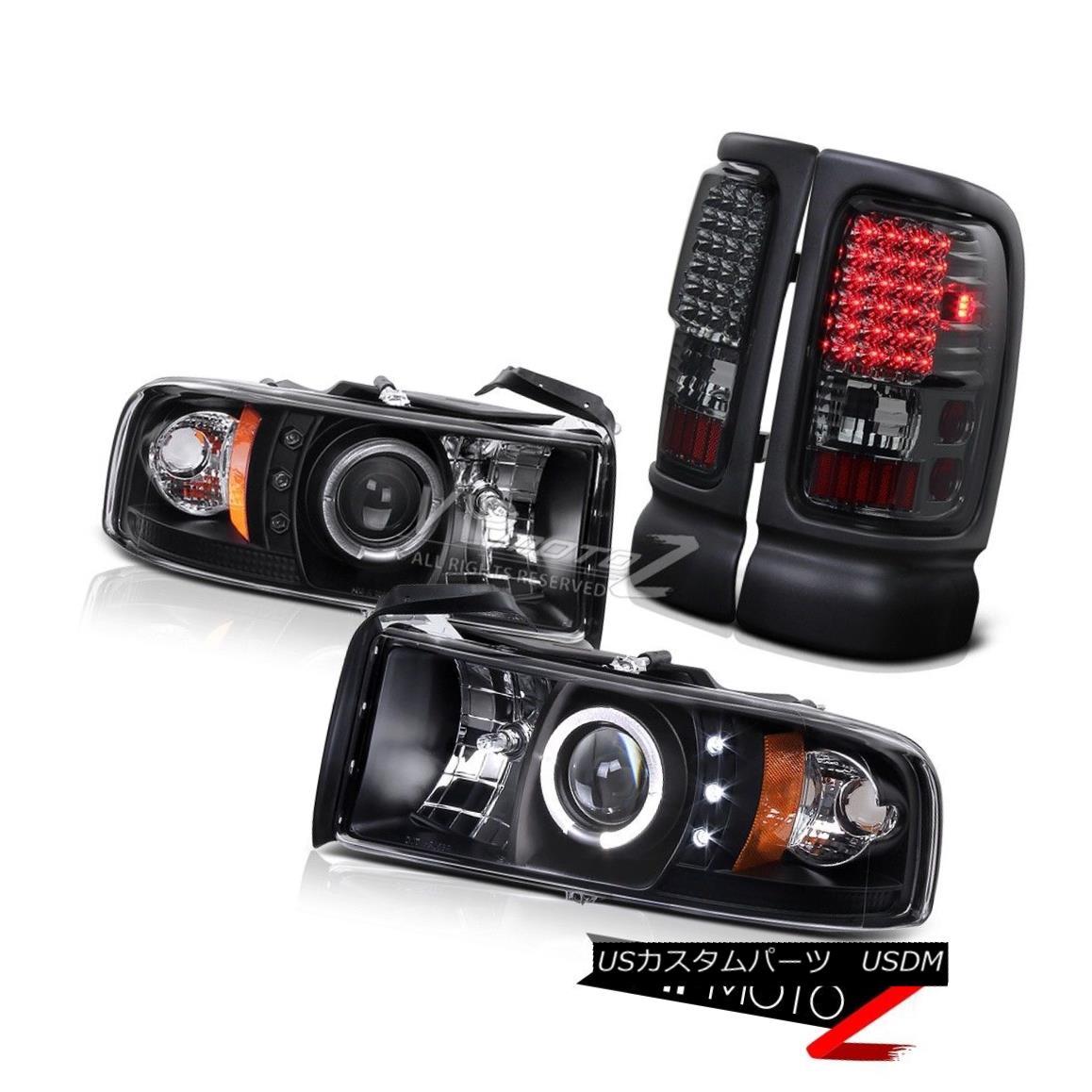 テールライト 94-02 Dodge RAM L+R Halo Projector Black Headlight+Smoke Led Tail Light Lamp 94-02ドッジRAM L + Rハロープロジェクターブラックヘッドライト+スモーク eテールライトランプ