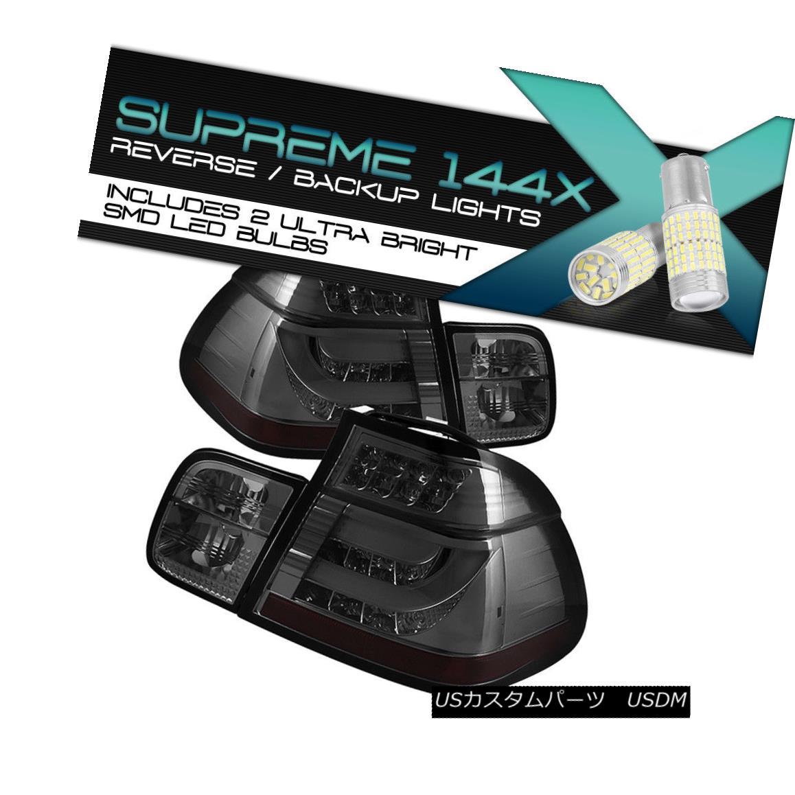 テールライト [360 Degree SMD Backup] 2002-2005 BMW 3 E46 4DR {SMOKE) Taillamps LED STRIP Pair [360度SMDバックアップ] 2002-2005 BMW 3 E46 4DR(SMOKE)タイルランプLED STRIPペア