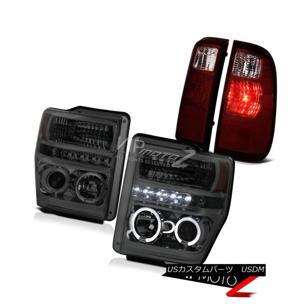 テールライト 08-10 F250 F350 F450 SMOKE Halo LED Headlights Cherry RED LED Tail Lights Lamps 08-10 F250 F350 F450 SMOKE Halo LEDヘッドライトチェリーRED LEDテールライトランプ