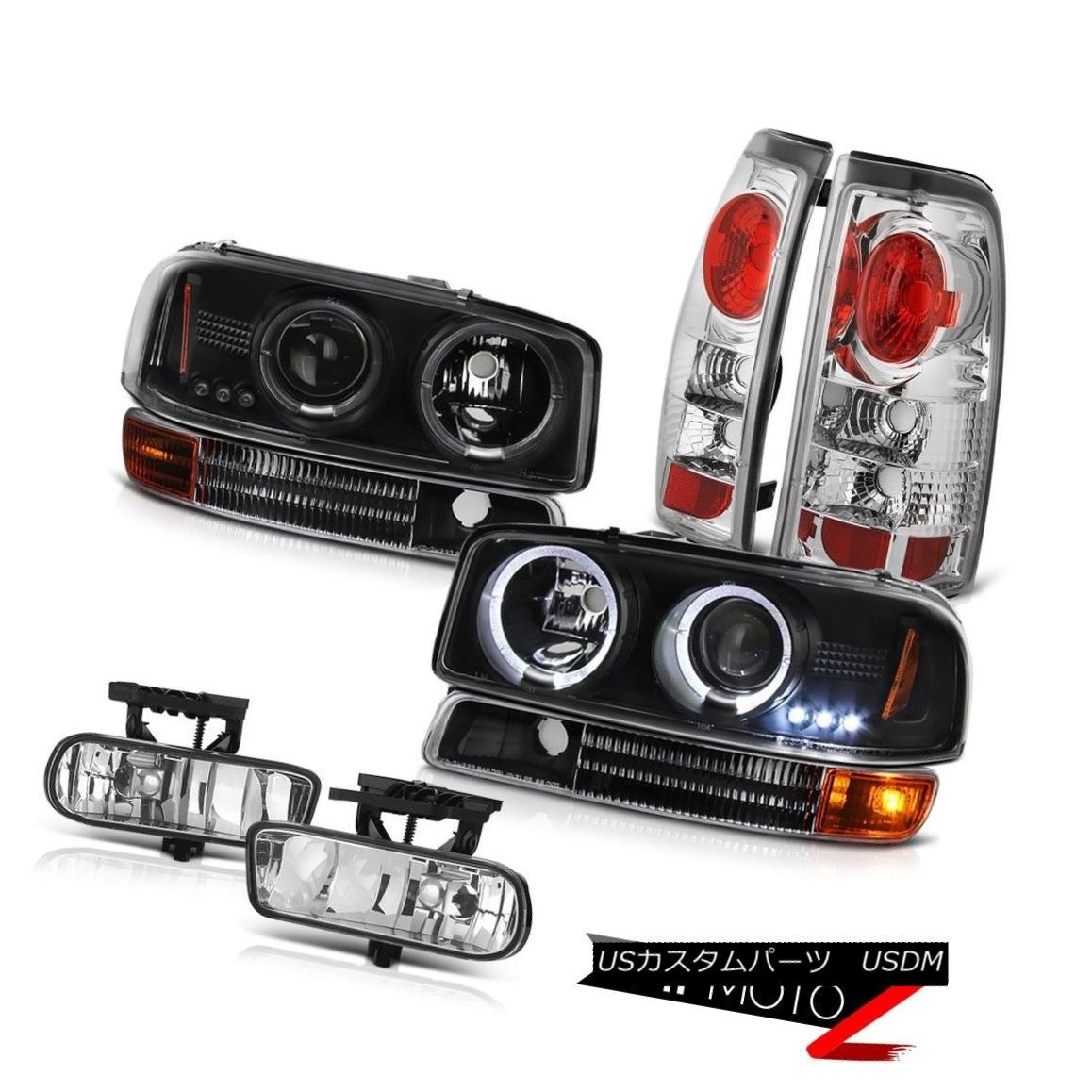 テールライト Projector Black Headlight Chrome Rear Tail Lamps Euro Fog 99-03 Sierra 2500 3500 プロジェクターブラックヘッドライトクロームリアテールランプユーロフォグ99-03 Sierra 2500 3500
