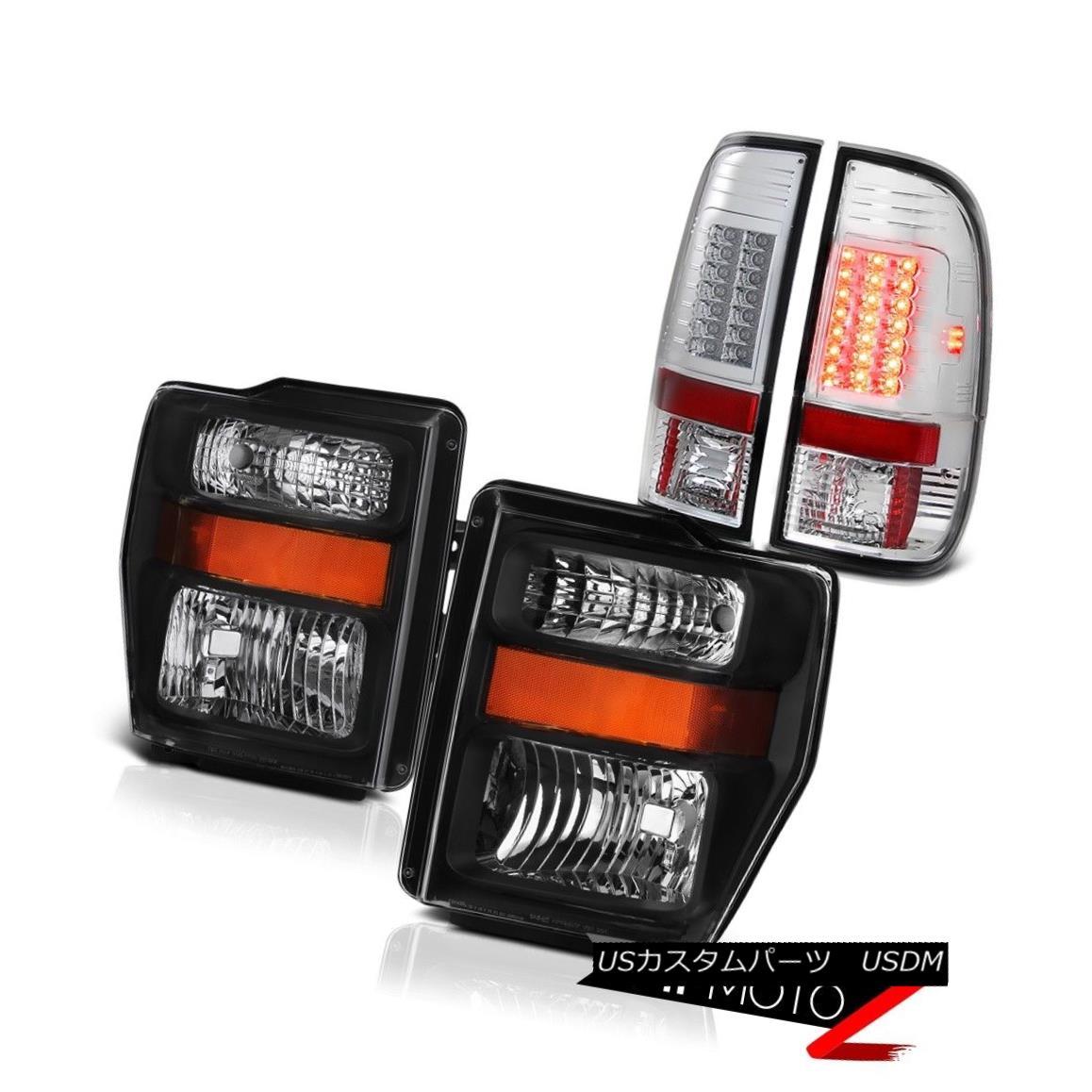 テールライト F250 F350 Super Duty Ultra Bright LED Chrome Tail Light Black Headlight Headlamp F250 F350スーパーデューティーウルトラブライトLEDクロームテールライトブラックヘッドライトヘッドランプ