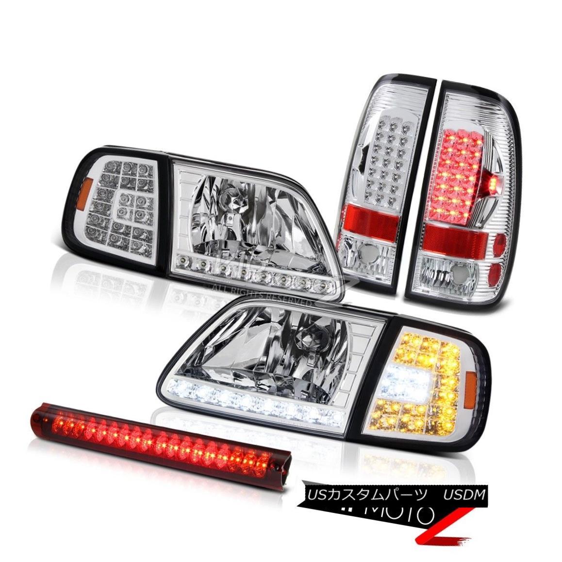 テールライト 97-03 F150 XLT Headlights DRL Corner Sterling Chrome Tail Lights High Stop LED 97-03 F150 XLTヘッドライトDRLコーナースターリングクロムテールライトハイストップLED