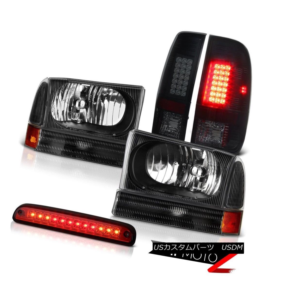 テールライト Pair Black Headlight Third Brake LED TailLight Lamps 99 00 01 02 03 04 Ford F350 ペアブラックヘッドライト第3ブレーキLEDテールライトランプ99 00 01 02 03 04 Ford F350