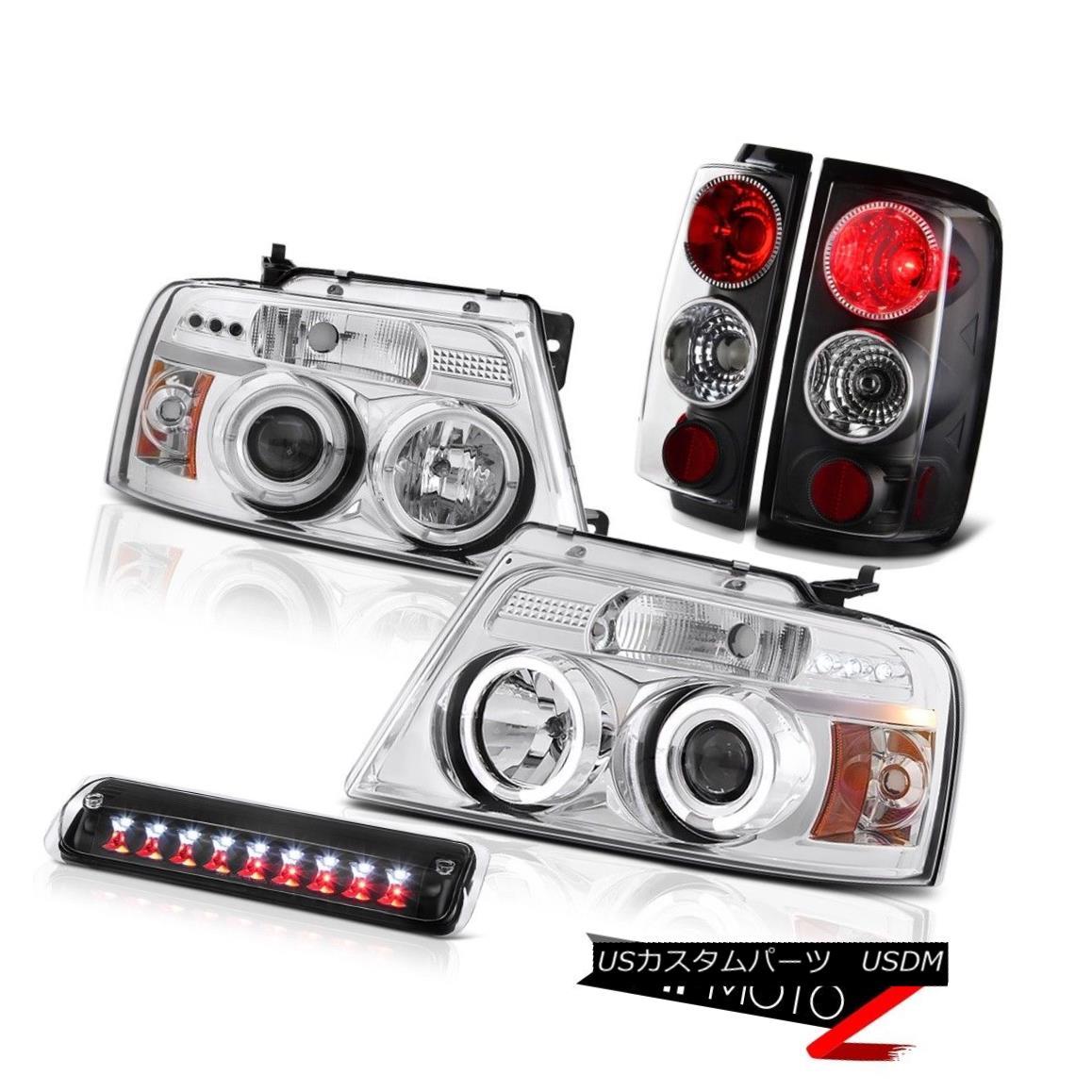 テールライト 04-08 Ford F150 FX4 High Stop Light Clear Chrome Headlamps Taillamps Halo Rim 04-08 Ford F150 FX4ハイストップライトクリアクロームヘッドランプタイルランプHalo Rim