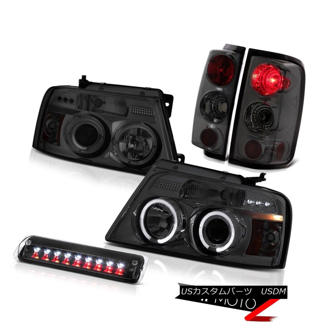 テールライト 04-08 Ford F150 XLT Black Roof Brake Light Smoked Headlights Rear Lights Euro 04-08 Ford F150 XLTブラックルーフブレーキライトスモークヘッドライトリアライト