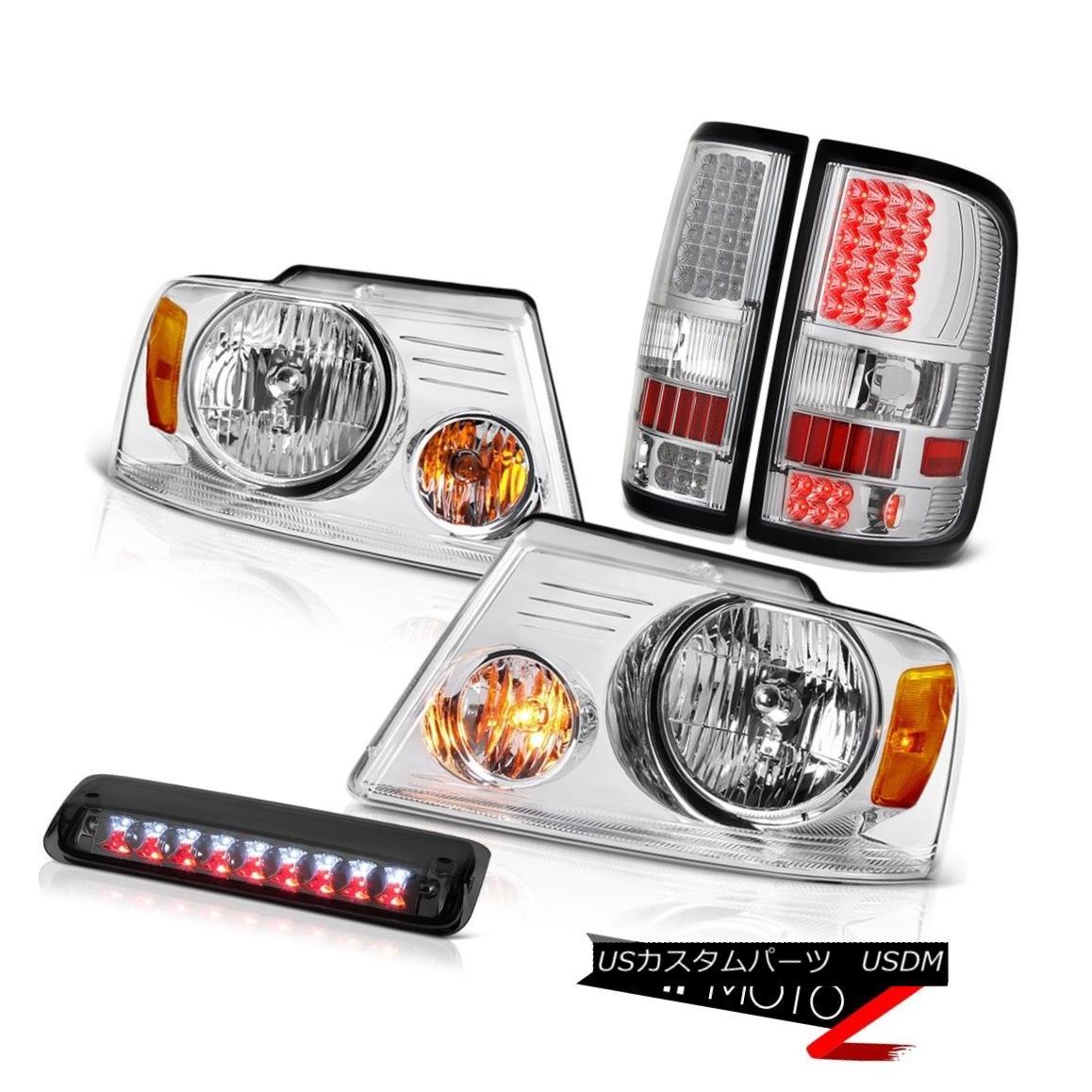 テールライト 04-08 Ford F150 XL Chrome Headlamps 3RD Brake Lamp Rear Lamps LED