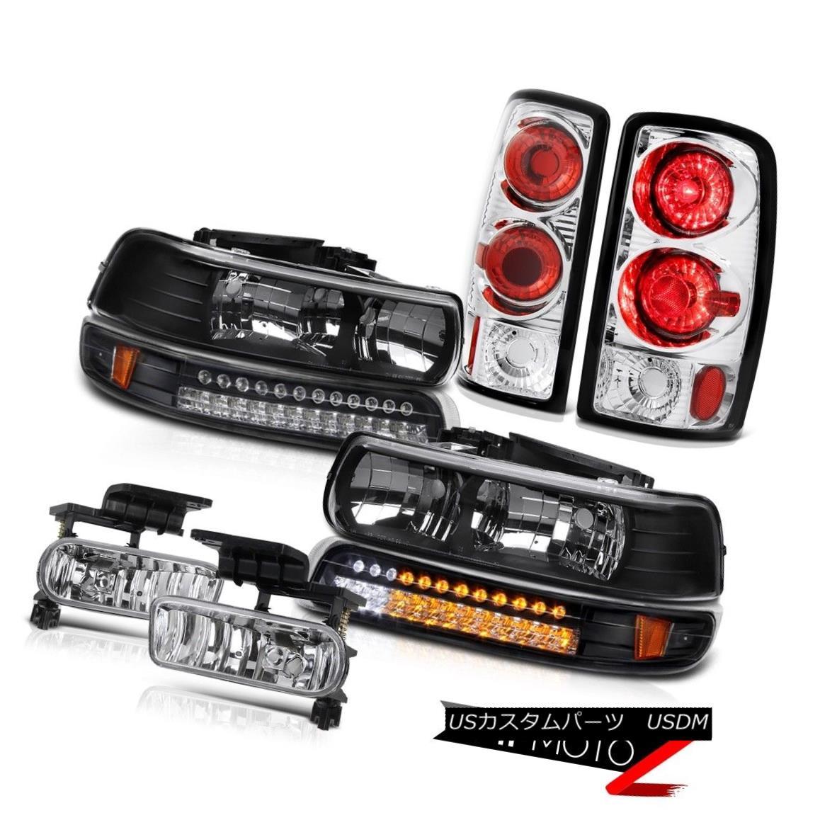 テールライト Pair Black Headlamps LED Rear Tail Lights Euro Fog 00 01 02 03 04 05 06 Suburban ペアブラックヘッドランプLEDリアテールライトユーロフォグ00 01 02 03 04 05 06郊外