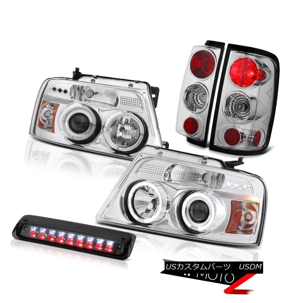 テールライト 2004-2008 Ford F150 XL Dark Smoke Roof Brake Lamp Headlights Taillights Halo Rim 2004-2008フォードF150 XLダークスモークルーフブレーキランプヘッドライトテールランプハローリム