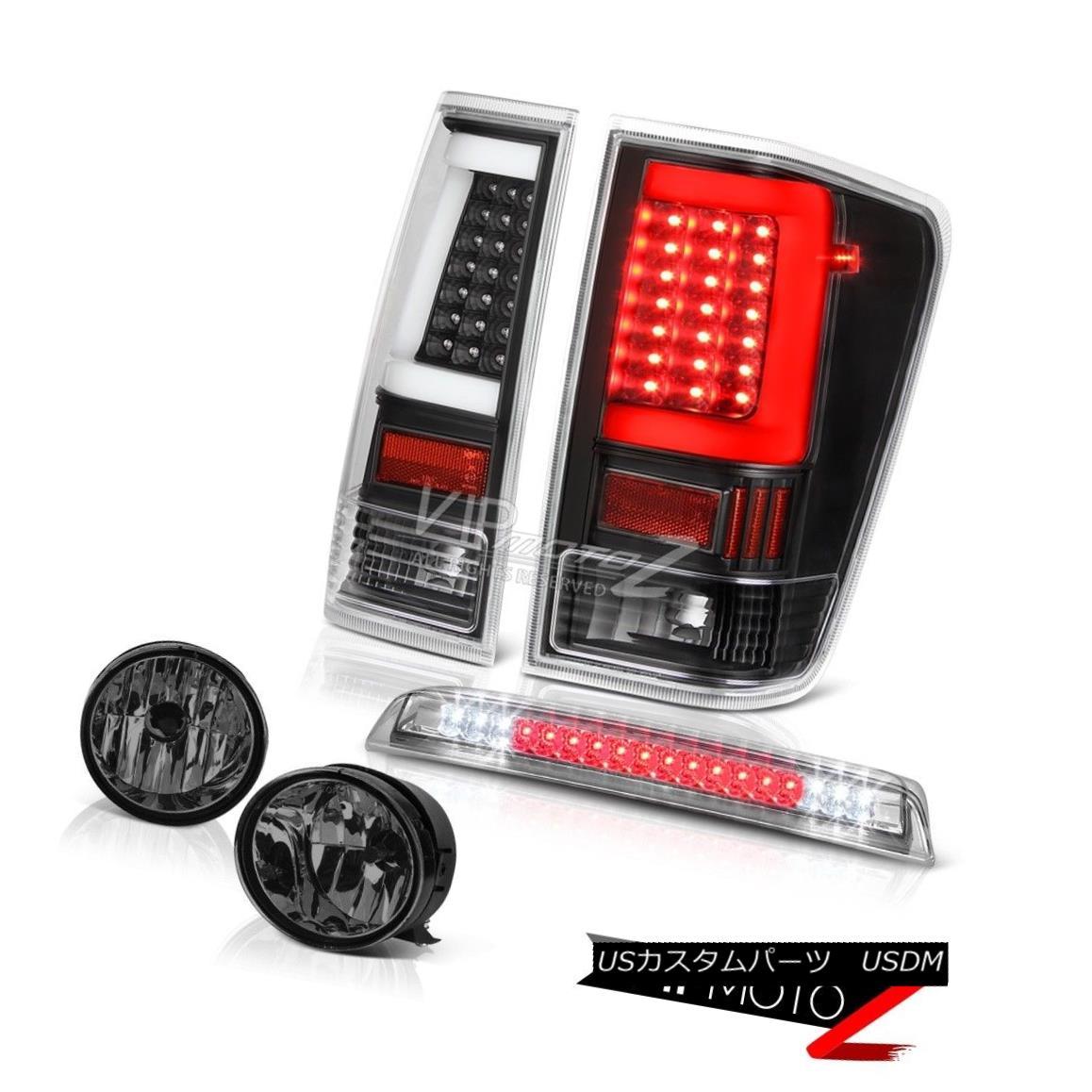 テールライト 04-14 For Nissan Titan Smokey Fog Chrome 3Rd Brake Black Fiber Optic Rear L+R 04-14日産タイタンスモーキーフォグクローム3RdブレーキブラックファイバーオプティカルリアL + R