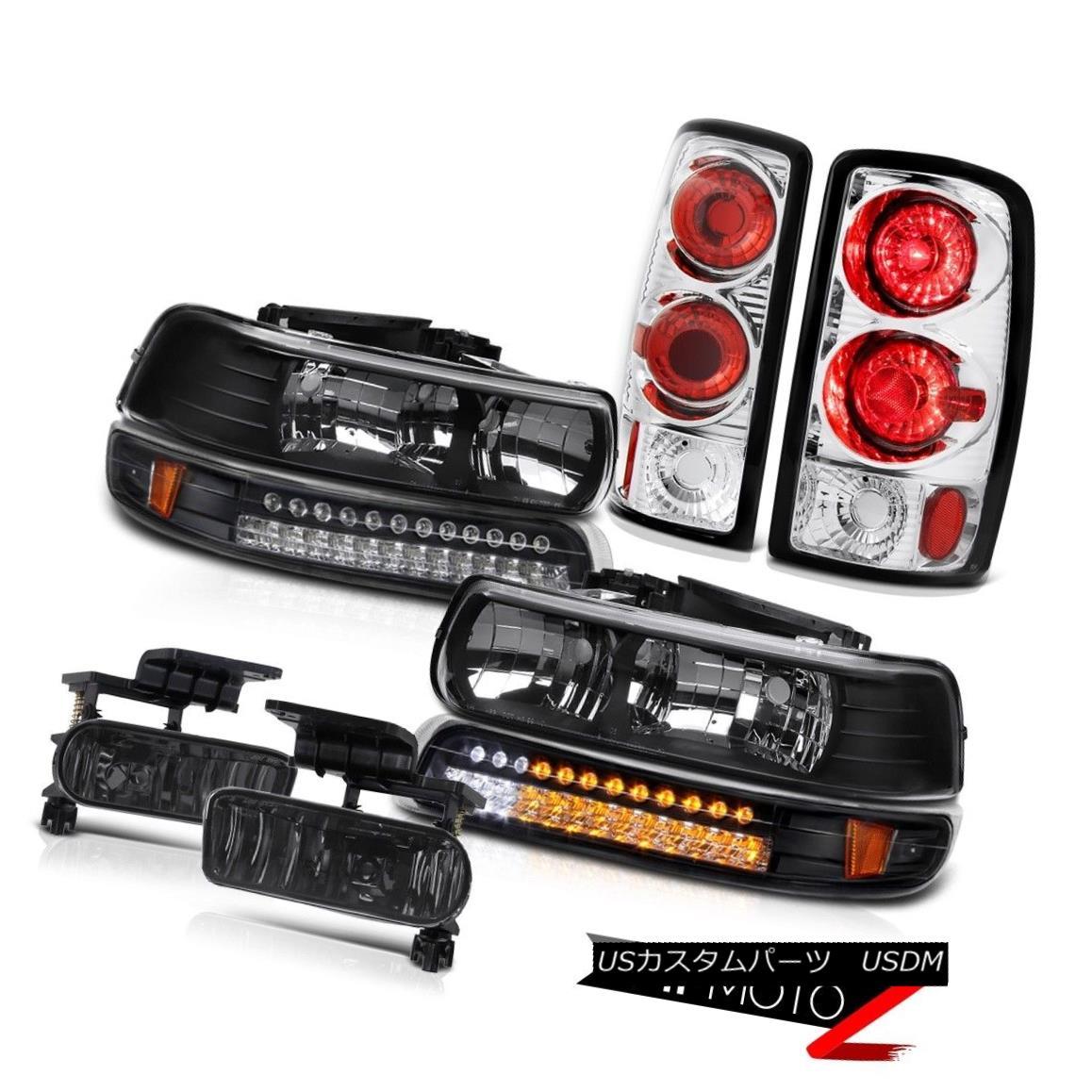 テールライト Black Diamond Headlights SMD Matte Euro Tail Lights Foglamps 00-06 Suburban 5.3L ブラックダイヤモンドヘッドライトSMDマットユーロテールライトフォグランプ00-06郊外5.3L