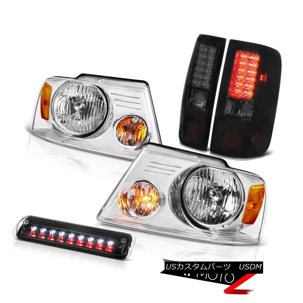テールライト 04-08 Ford F150 Lariat Euro Chrome Headlamps 3RD Brake Lamp Tail Lights Assembly 04-08 Ford F150 Lariatユーロクロームヘッドランプ3RDブレーキランプテールライトアセンブリ